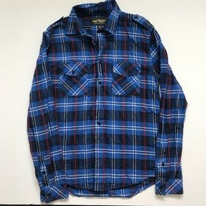 Urban Outfitters Salt Valley Blue Red Plaid Shirt